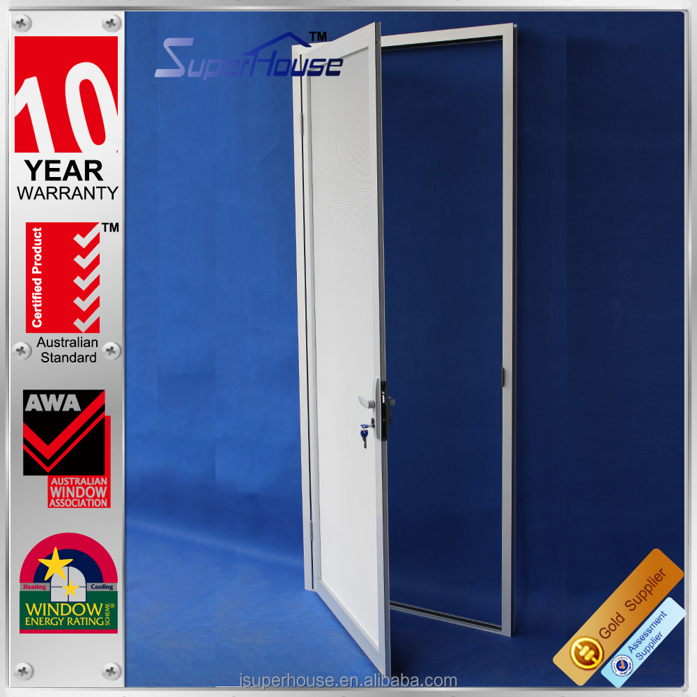 Superhouse aluminium anti theft doors with durable stainless steel mesh screen for security and ventilation