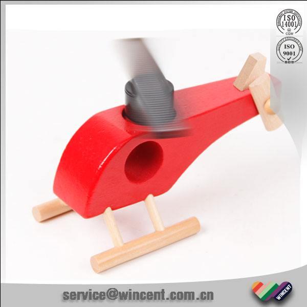 solid wooden Colorful Solar energy powered Helicopter Plane toys