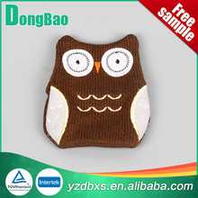 brown and white color animal soft hot cold pack cover owl