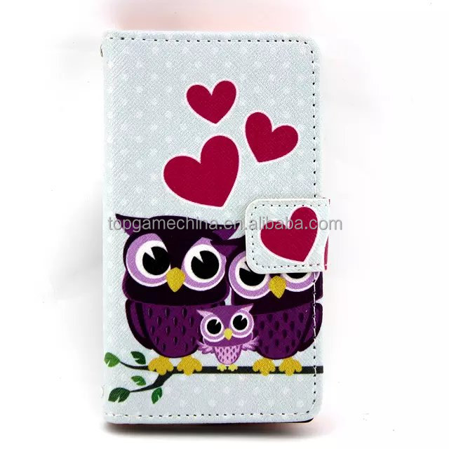 Owl Pattern Leather Case with Credit Card Slots & Holder for nokia 520