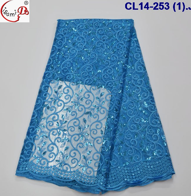 Autumn candy color sequins designs CL14-253(1) blue french lace polyester lace fabric /african net lace fabric