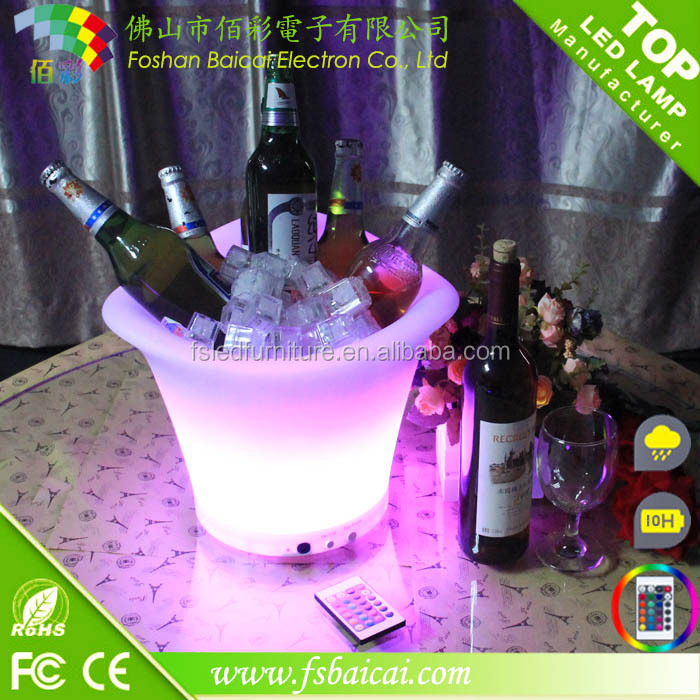 High quality PE Material led ice bucket/led illuminated the bucket