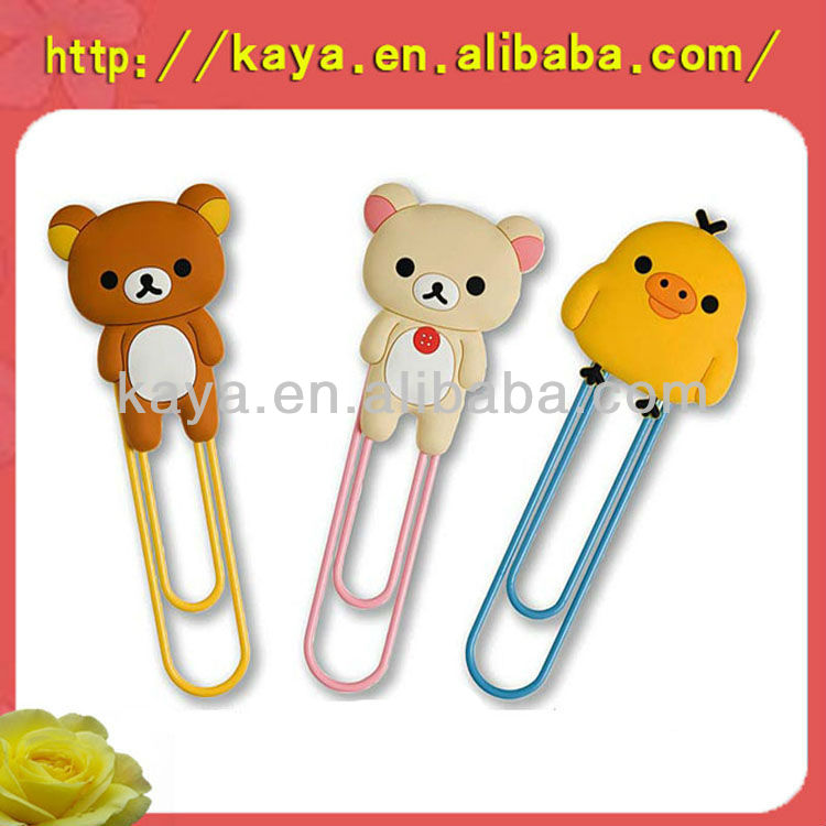 Lovely 3d cartoon soft pvc bookmark designs for kids