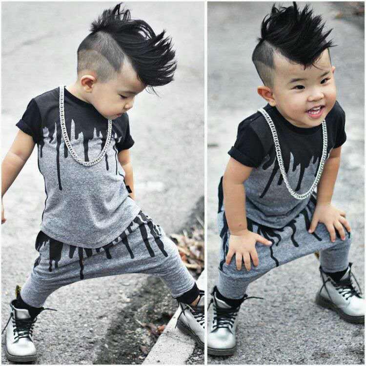 New Design Baby Boys Clothes Toddler Summer Shirt Harem Pants Set