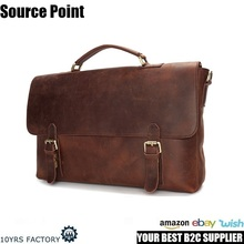 YD-009A Wholesale vintage Italian style mens crazy horse genuine leather laptop messenger bags for business