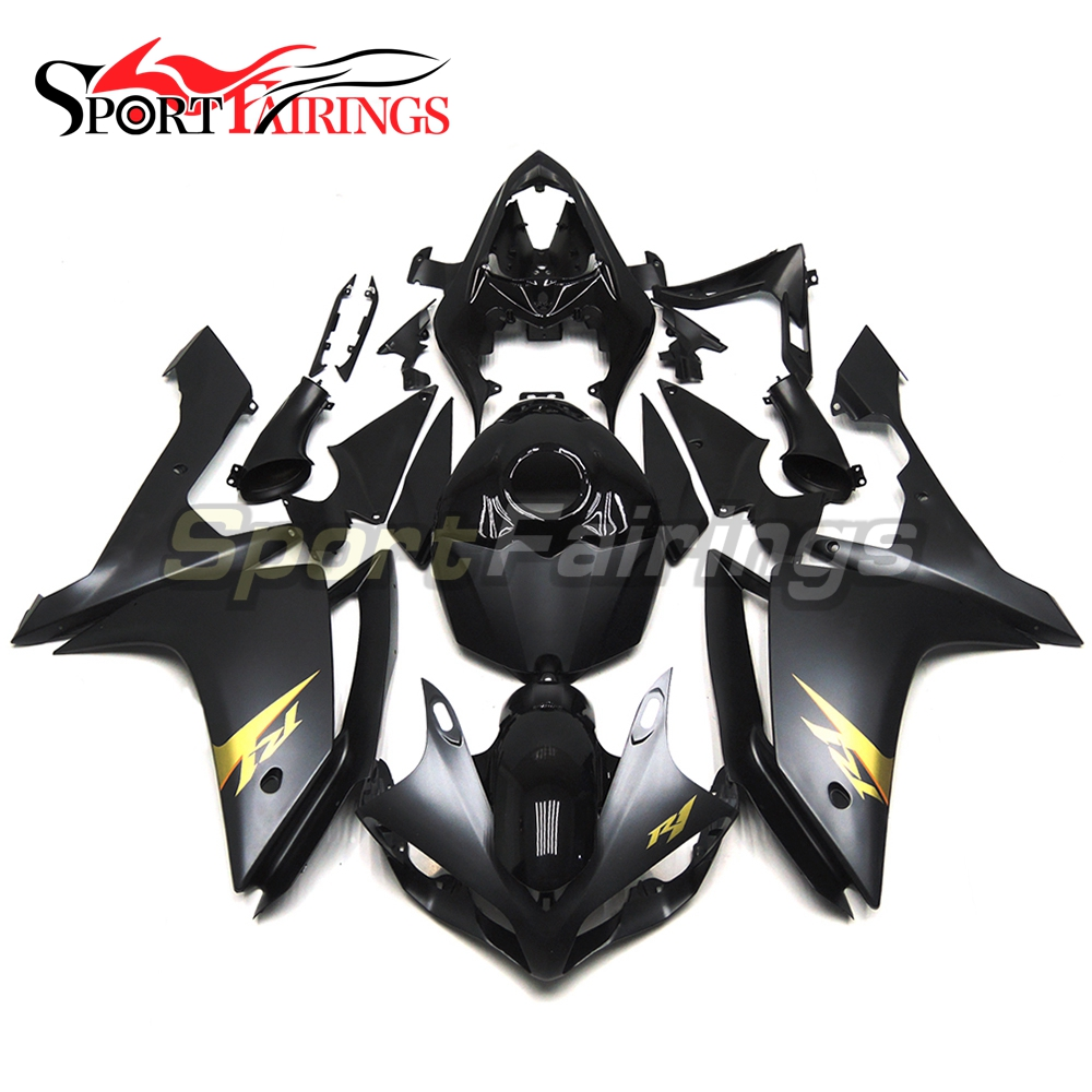 Black Matte Gold Decals ABS Injection <strong>Fairings</strong> For Yamaha YZF <strong>R1</strong> 07 <strong>08</strong> Plastic Injection Motorcycle Kit Body Kits Covers