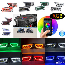 RZR LED Headlights - ATV Part POLARIS RZR 1000 XP Bluetooth APP Control RGB LED Halo Headlight