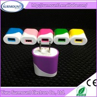 Colorful EU/US type 5v 2A Double Usb Power Adapter, Usb Wall Charger For Mobile Phones