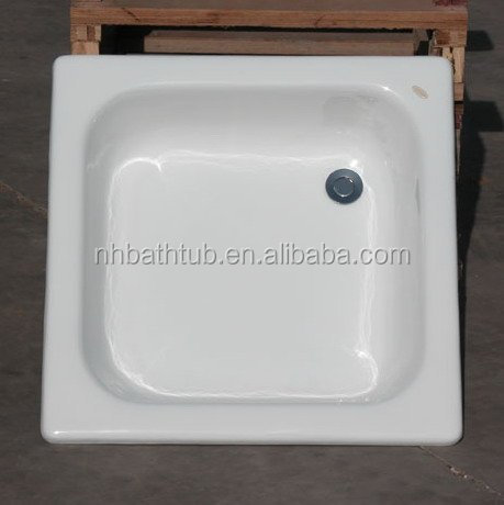 Square 700*700/800*800/900*900mm enameled Steel shower tray, shower base