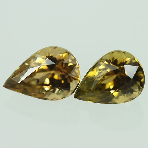 4.69ct Mach Pair Pear Natural Yellow Tanzanite