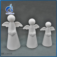 popular white glazed porcelain ceramic crafts angel figurines