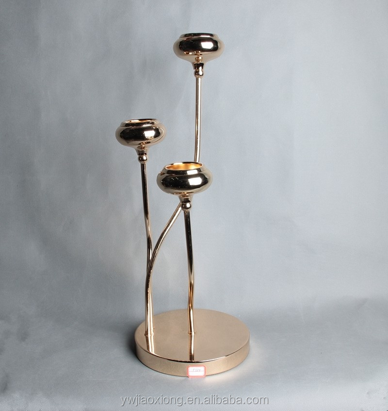 3 arms tall tea light holder gold metal wedding candelabra for centerpieces