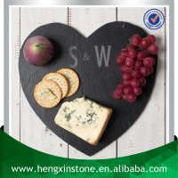 Factory Direct Sale Wholesale 30*30*0.5cm Laser Engraved Heart Shape Slate Dinner Plates For Weddings
