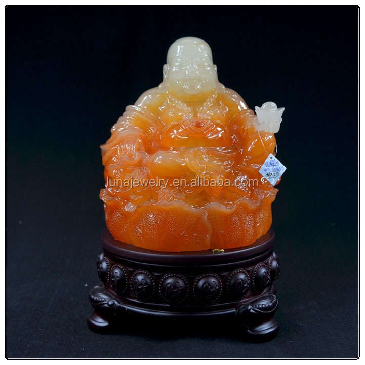 Red Jade color buddha statue for home decoration , chinese luckly buddha statue