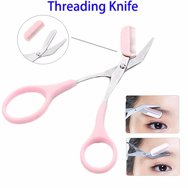 Factory Wholesale Portable Makeup Tool Stainless Steel Threading Knife Eyebrow Scissors