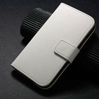 Smooth leather wallet case for samsung s4 mini, for s4 mini flip book case, for samsung galaxy s4 mini i9190 case