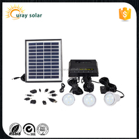4W Solar Panel Charger Home System Kit 7.4V 3 LED Light USB Garden Camping Outdoor