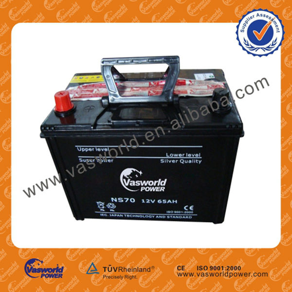 remote control car battery NS70 12V65AH dry charged batteries with black case