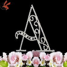 monogram alphabet A-Z rhinestone covered cake topper wedding decoration pick