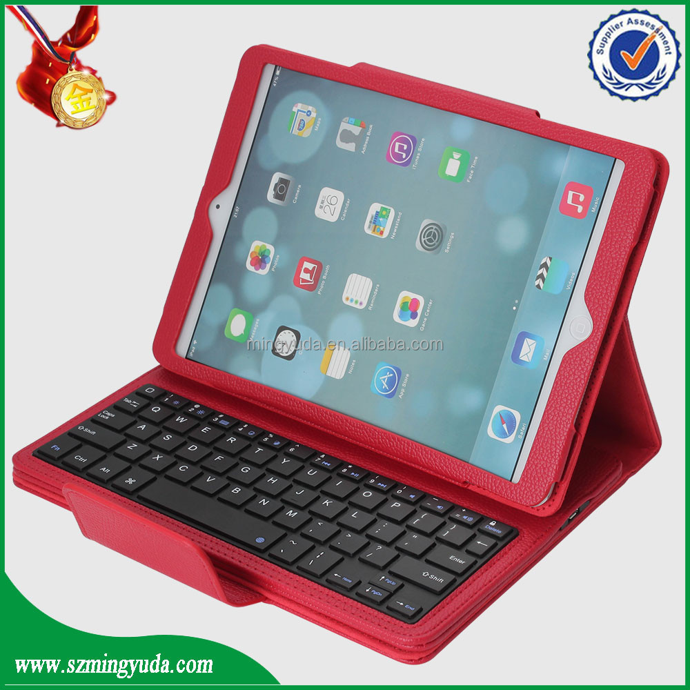 2015 hot selling PU leather tablet case flip cover with wireless bluetooth keyboard for ipad air2