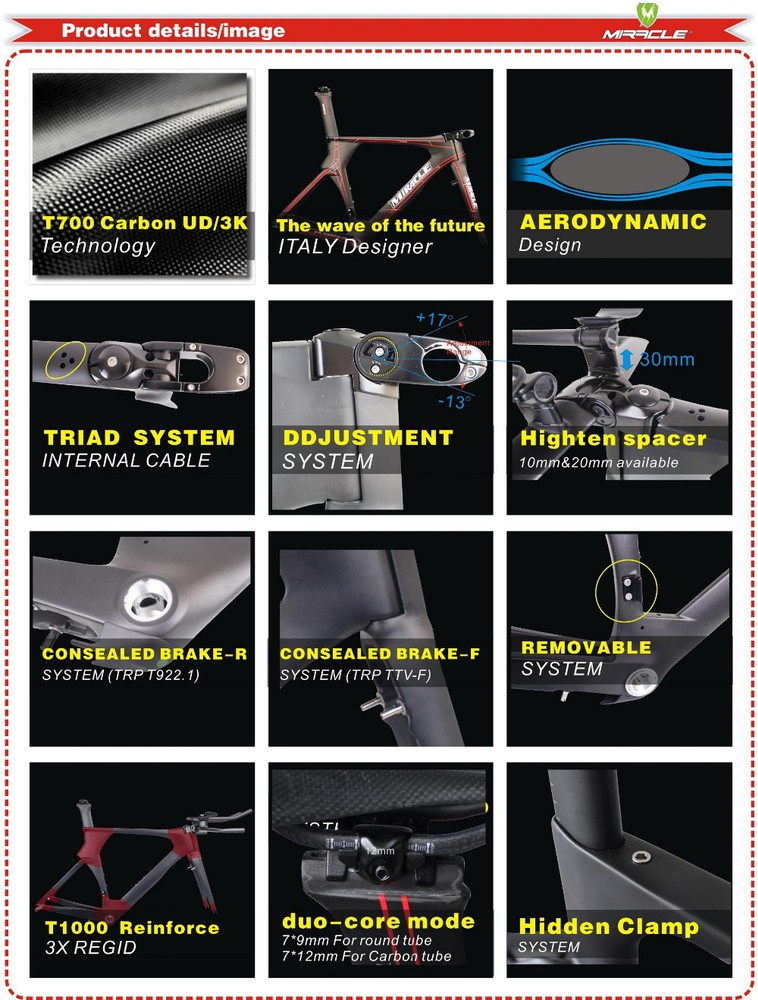 Miracle hot Carbon TT Bike Frame,high quality Time Trial Bicycle Frame,warranty 2 Year TT Frame