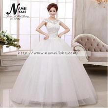 2018 Latest White Net Ball Gown Crew Floor Length Wedding dress Lace Appliques Girl Dress Pictures of Gowns 2017