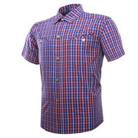 OUTTO Men's Outdoor Plaid Short Sleeve Shirt M-2XL