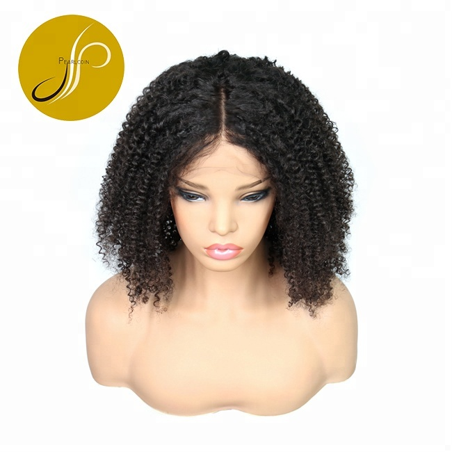 Black Women Cuticle Aligned Brazilian Remy Human Hair Elastic Band Thin  Hand-tied Afro Kinky Curly Lace Front Wig With Baby Hair 4e803bb29e