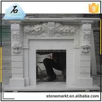 Decorative flower carved marble inserts french style fireplace mantel