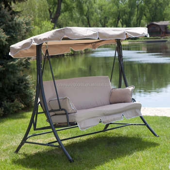 Metal garden swing chair with cushion