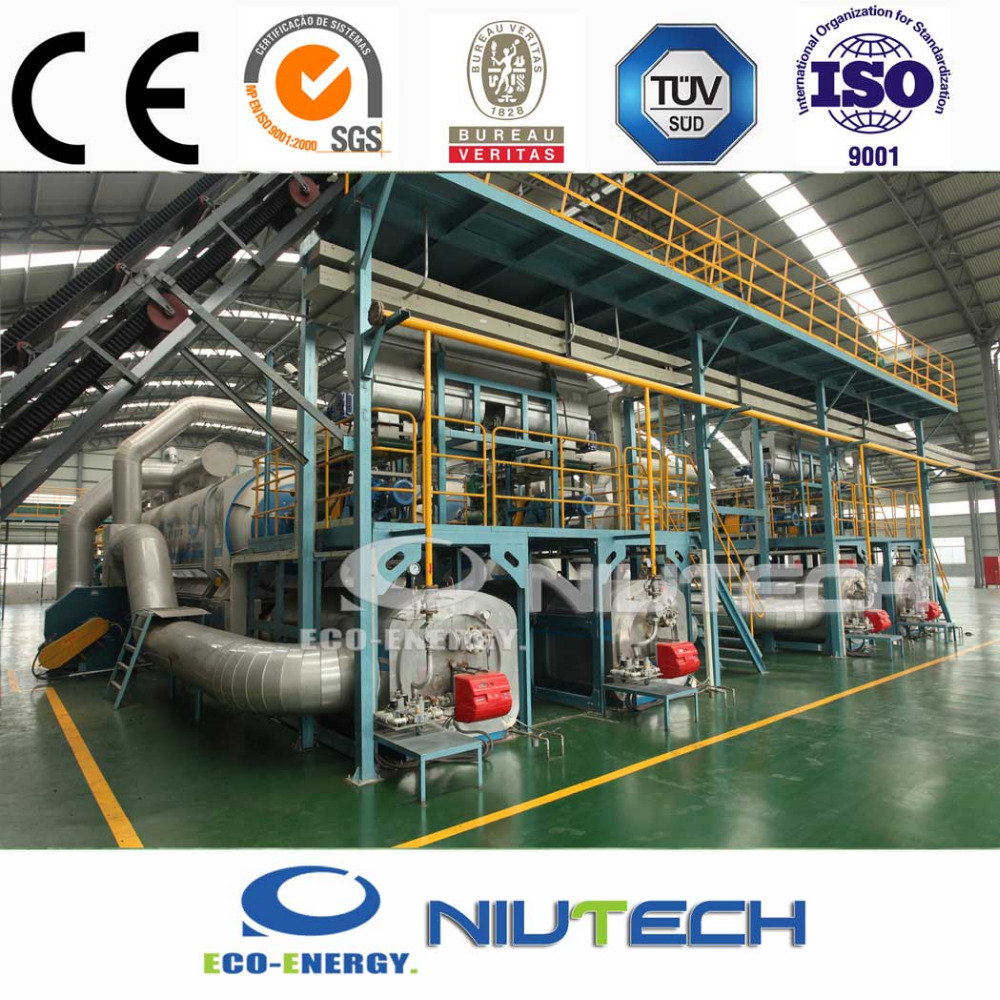 Industrial continuous waste tire to fuel oil solution