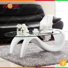Home furniture living room used double S shape luxury modern design cheap beautiful seamaid shape glass coffee table for sale