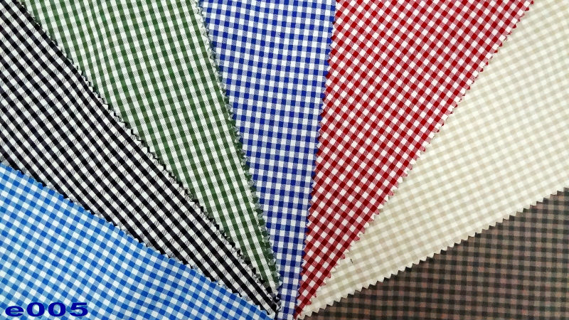 100% combed cotton fabric in gingham check soft hand feel