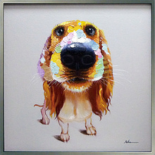 Abstract Fabric Dog Design Canvas Painting