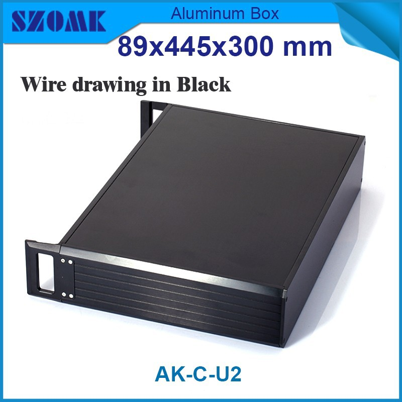 Dark grey color Wire drawing 19 inch 2U aluminum junction box ,Instrument case fit PCB size 88x400x269mm