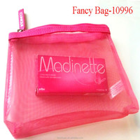 Stylish Pink Mesh Cosmetic Case