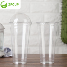 ZFCUP Disposable PET Plastic Coffee Cup with Straw and Lids Custom Cold Drink Cup