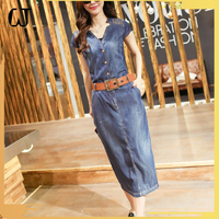 L2208#made in china boyfriends high waist pencil half lady denim dress straight OL long V collar jean skirt for women stock