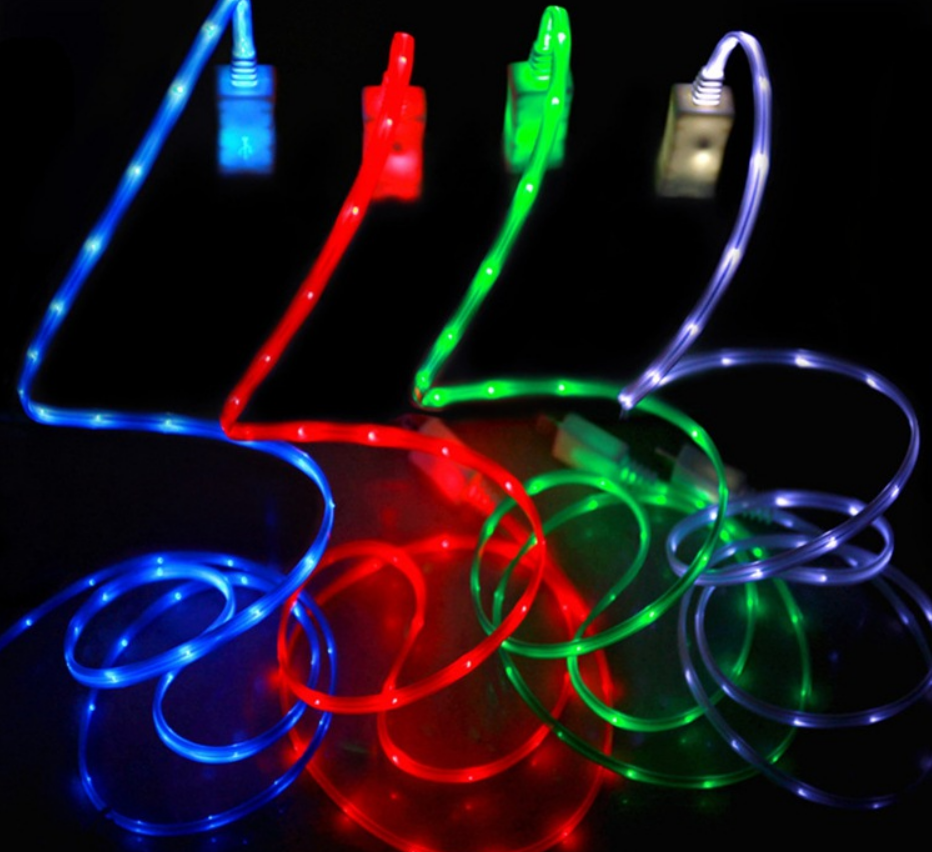 LED Light Glow Micro Nylon USB Charging Data Sync Cable type-c flowing usb cable