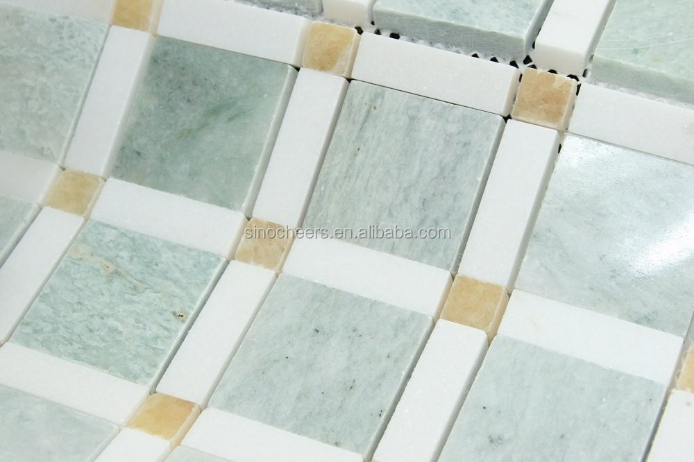 Most beautiful ming green with brown dots marble square mosaic tiles