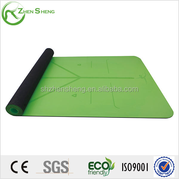 Zhensheng anti-slip pu surface natural rubber yoga mat 4mm