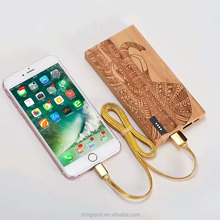 100% brand new 9000mah wood power bank mobile phone battery