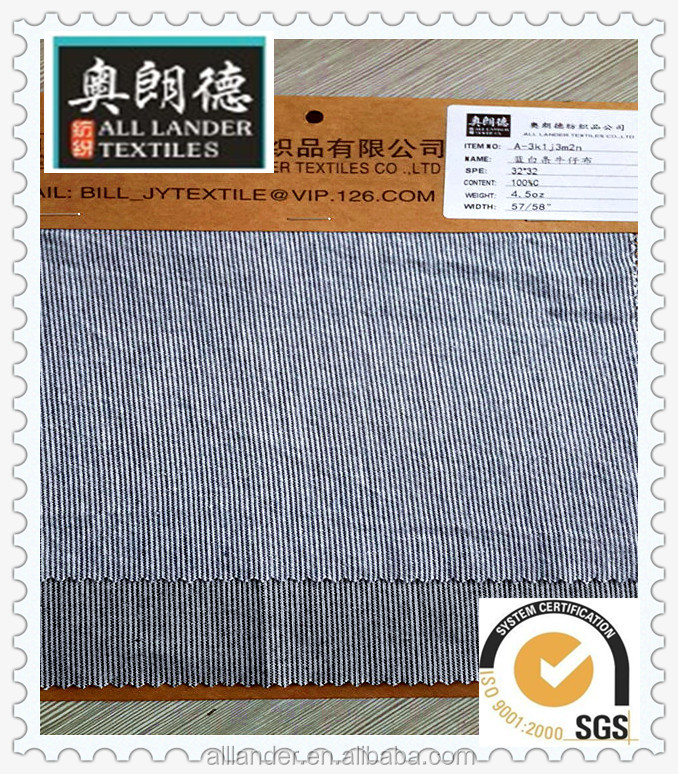 Blue and white stripes 100 % cotton denim fabric