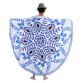 China customize mandala roundie towel 100% cotton round beach towels with tassels fringe