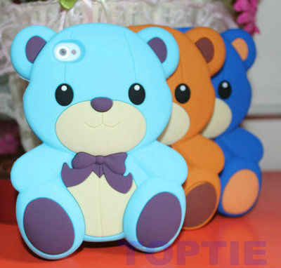 Cute 3D Teddy Bear Rubber Silicone Case Cover for iPhone 4 4S 5 5G With 8 Colors