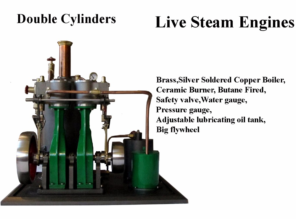 Live Steam Engine , Double Cylinders (Brass made)