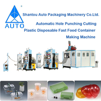 Automatic Hole Punching Cutting Plastic Disposable Fast Food Container Making Machine