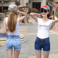 Trendy design high quality girls short jeans high waist button decoration pants sexy elegant ladies shorts jeans