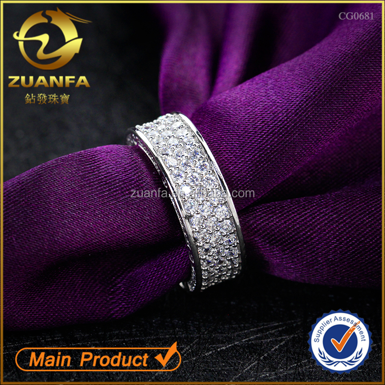 best quality simple design women men casual micro pave silver cz ring