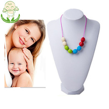 Christmas Gift BPA Free DIY Silicone Baby Safe Dummy Teething Necklace Silicone Beads Teether Jewelry for Mom
